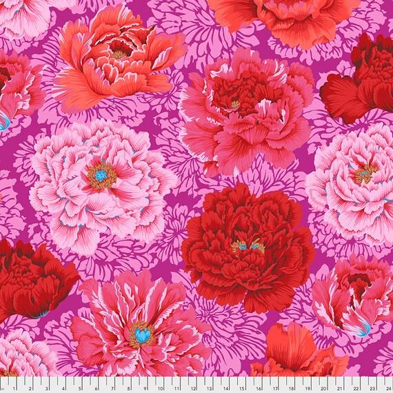 BROCADE PEONY Hot Pink Red pj062 Philip Jacobs Kaffe Fassett Collective Sold in 1/2 yd increments