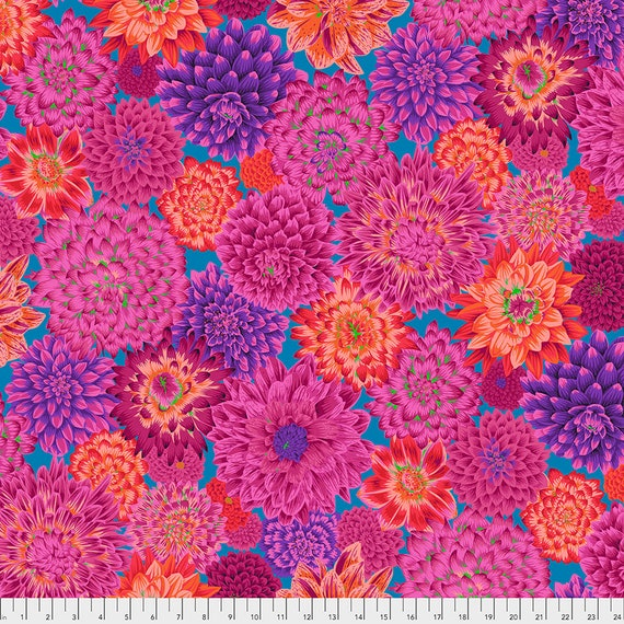 Separate Order!! DANCING DAHLIAS RED Philip Jacobs  Kaffe Fassett Collective - Sold in 1/2 yd increments - Multiples cut as one length