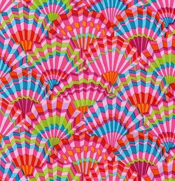 PAPER FANS PINK pwgp143 Kaffe Fassett  - Sold in 1/2 yd increments - Multiple units cut as one length