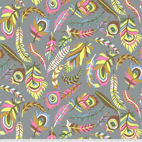 TICKLE My FANCY GREYBrandon Mably Kaffe Fassett Collective  - Sold in 1/2 yd increments  - Multiples cut continuous