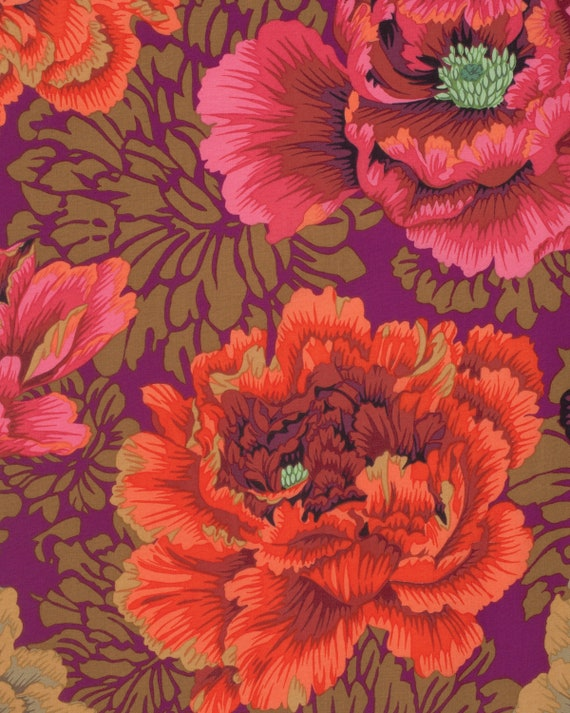 BROCADE PEONY AUTUMN by Philip Jacobs  Sold in 1/2 yd increments