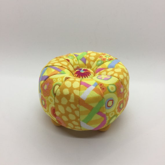 "TUFFET PINCUSHION  - FINISHED  4"" diameter   Yellow  Kaffe Fassett Collective fabrics"