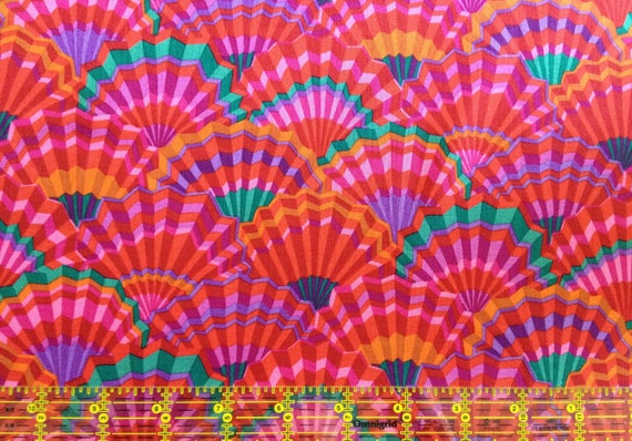 PAPER FANS RED Kaffe Fassett Collective Sold in 1/2 yd increments
