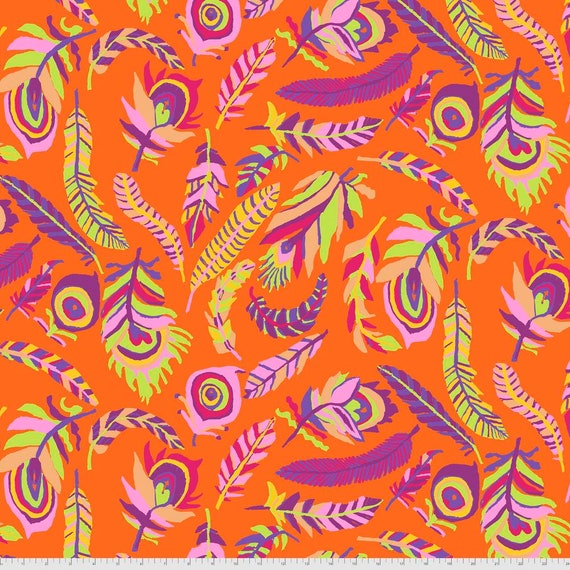 TICKLE My FANCY ORANGE Brandon Mably Kaffe Fassett Collective  - Sold in 1/2 yd increments  - Multiples cut continuous