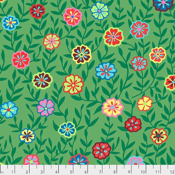 BUSY LIZZY Green PWGP175 Kaffe Fassett -  1/2 yd - Multiples cut one length  - USA based retailer