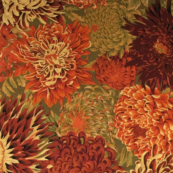 JAPANESE CHRYSANTHEMUM  in Brown  PJ41 Philip Jacobs Kaffe Fassett  in 1/2 yd increments
