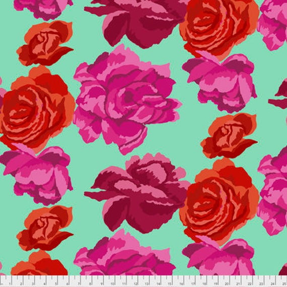 ROSE CLOUDS AQUA PWGP164 Kaffe Fassett Sold in 1/2 yd increments