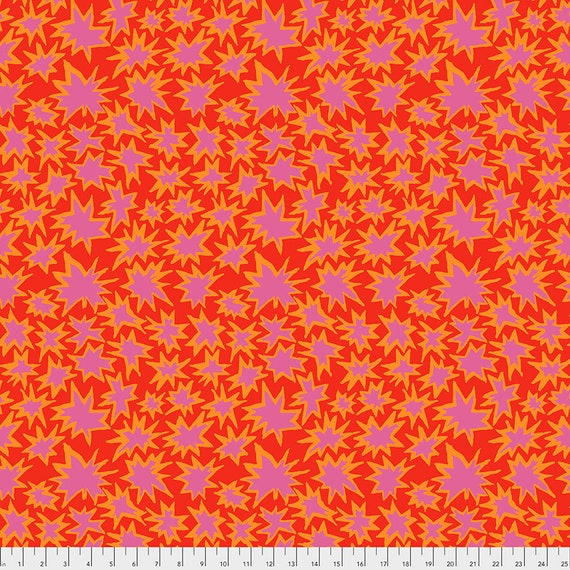 Pre-Order - BANG RED pwbm72 Brandon Mably Kaffe Fassett Collective - Sold in 1/2 yd increments - Multiples cut in one length