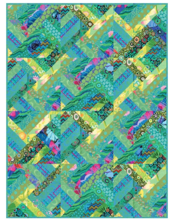 "Kaffe Fassett GREEN STRIP SEARCH Quilt Kit All Kaffe Fassett Collective ""Classics"" fabrics"