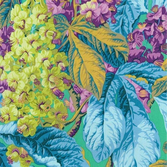 HORSE CHESTNUT Green PWPJ084 Philip Jacobs Kaffe Fassett Collective Sold in 1/2 yd increments