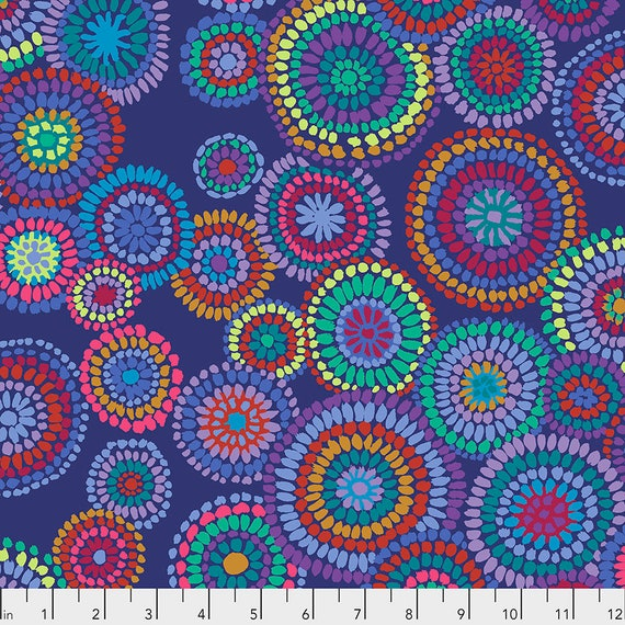 MOSAIC CIRCLES Blue PWGP176  Kaffe Fassett -  1/2 yd - Multiples cut one length  - USA based retailer