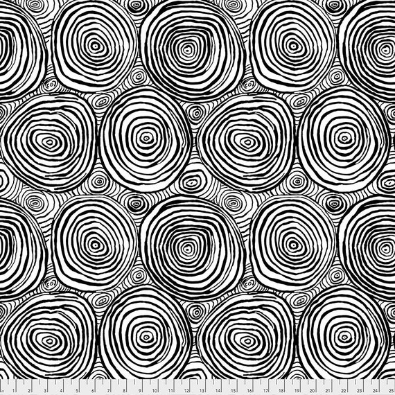 ONION RINGS BLACK pwbm73 Brandon Mably Kaffe Fassett Collective -  1/2 yd - Multiples cut continuously - Multiples cut in one length