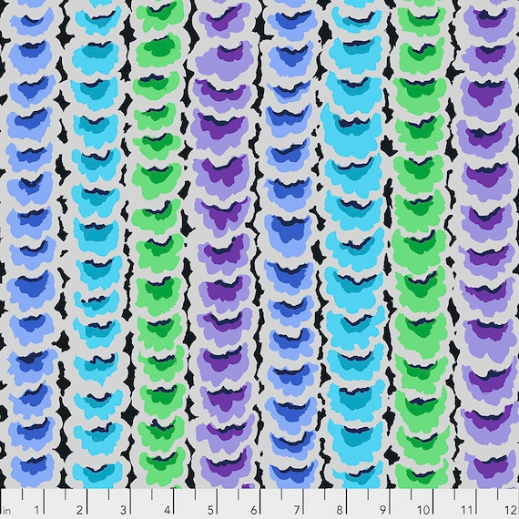 GARLANDS BLUE PWGP181 - Kaffe Fassett Collective  Sold in 1/2 yd increments