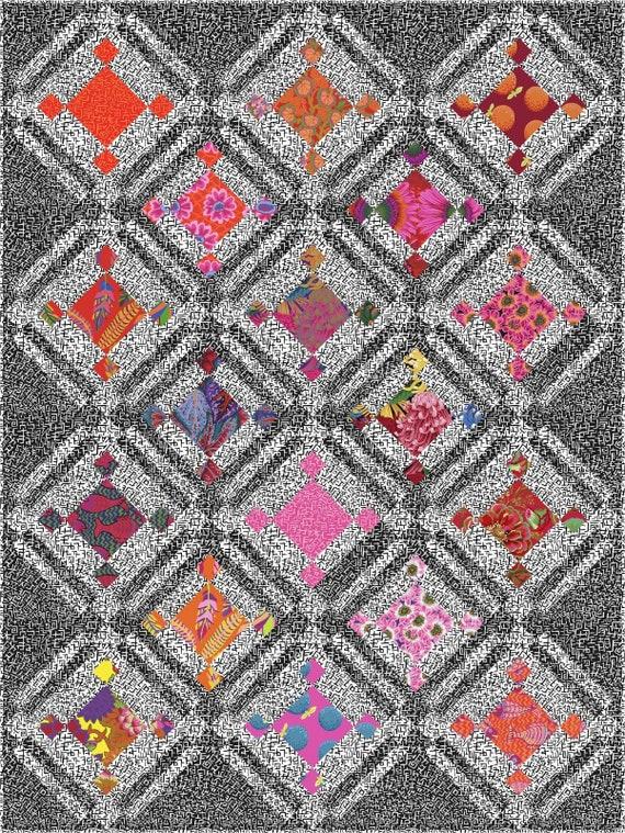 "JUXTAPOSITION Quilt Pattern only  - Quilt Size 53"" x 71"""