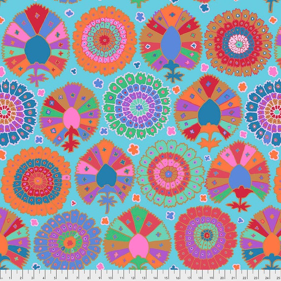 TURKISH DELIGHT AQUA Kaffe Fassett  - Sold in 1/2 yd increments - Multiples cut in one length