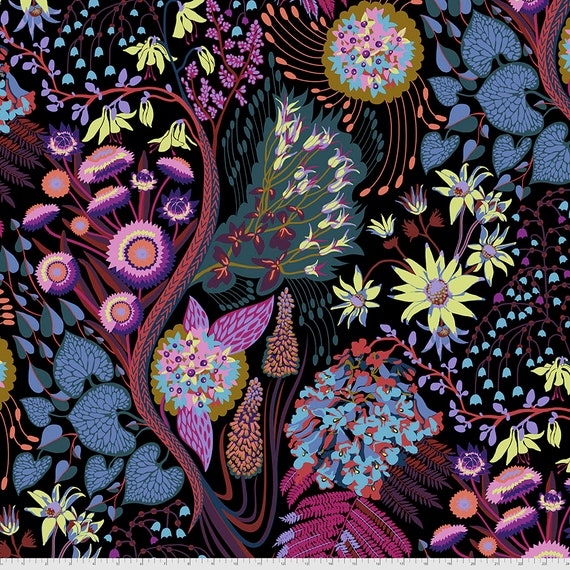 1/2 yd SOURCE CODE MIDNIGHT PWAH117.Midnight Anna Maria Horner -  Sold in 1/2 yard increments -  Multiples cut in one length