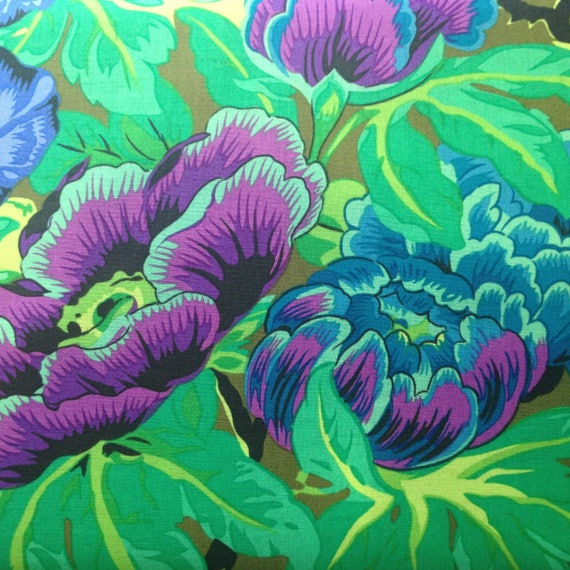 LAVINIA Green Philip Jacobs for Kaffe Fassett fabric Sold in 1/2 yd increments