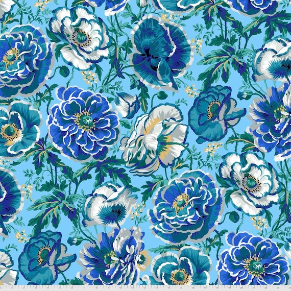DOROTHY BLUE Philip Jacobs Kaffe Fassett Collective -  - Sold in 1/2 yd increments  - Multiples cut continuous