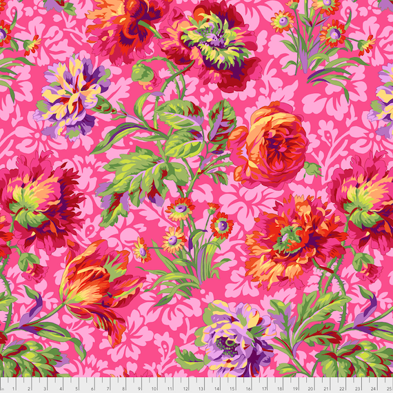 BAROQUE FLORAL Red Philip Jacobs PWPJ090.REDXX Kaffe Fassett Collective Sold in 1/2 yd increments