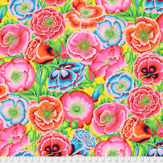 POPPY GARDEN Red Philip Jacobs PWPJ095.REDXX Kaffe Fassett Collective Sold in 1/2 yd increments