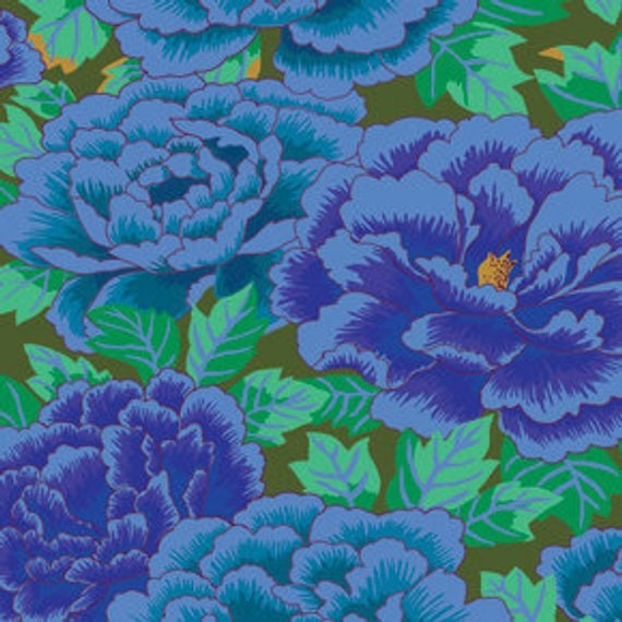 KIMONO COBALT Blue GP33 Kaffe Fassett   1/2 yd - Multiples cut continuously