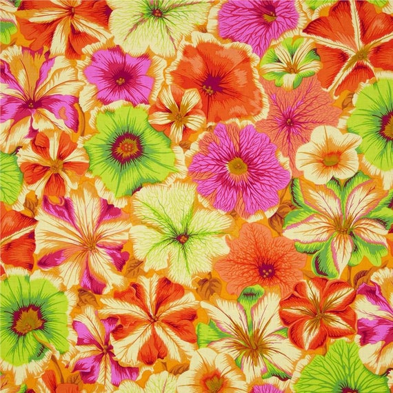 PETUNIAS ORANGE PJ50 Philip Jacobs for Kaffe Fassett Sold in 1/2 yd increments