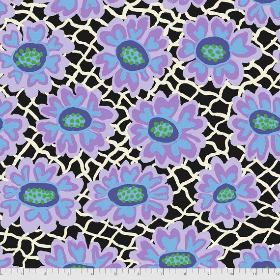 FLOWER NET BLACK Brandon Mably Kaffe Fassett Collective Sold in 1/2yd units - Multiples cut continuous
