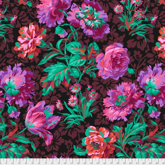 BAROQUE FLORAL Black Philip Jacobs PWPJ090.BLACK Kaffe Fassett Collective Sold in 1/2 yd increments Item