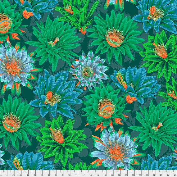 CACTUS FLOWER GREEN pwpj096 Philip Jacobs Kaffe Fassett Collective -  1/2 yd - Multiples cut as one length - Multiples cut in one length