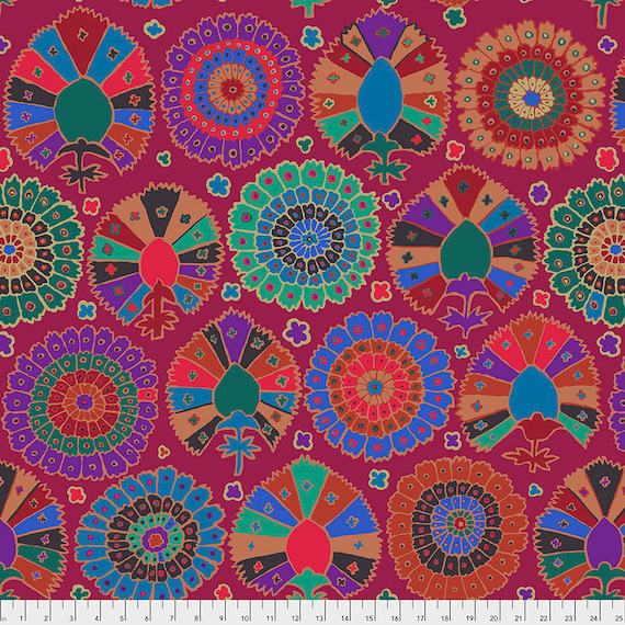 TURKISH DELIGHT WINE Kaffe Fassett  - Sold in 1/2 yd increments - Multiples cut in one length