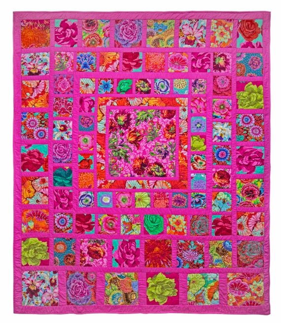 PINK SQUARES Quilt Fabric Pack - Free US Shipping - Quilts In The Cotswolds  -  Kaffe Fassett Collective