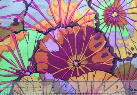 LOTUS LEAF  in UMBER gp29  by Kaffe Fassett sold in 1/2 yd increments