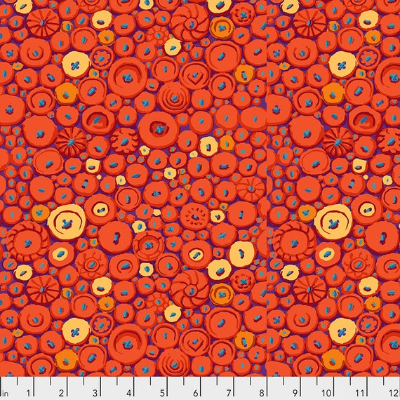 BUTTON MOSAIC Orange pwgp182 - Kaffe Fassett Collective  Sold in 1/2 yd increments