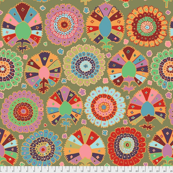 Pre-Order - TURKISH DELIGHT MOSS Kaffe Fassett  - Sold in 1/2 yd increments - Multiples cut in one length