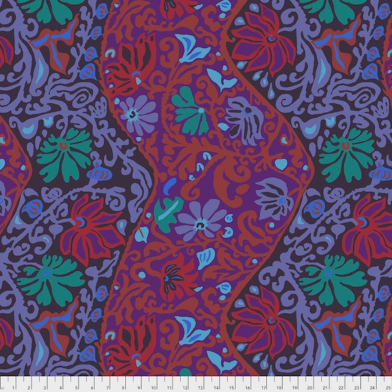 BALI BROCADE PURPLE pwbm069 Brandon Mably Kaffe Fassett Collective - Sold in 1/2 yd increments - Multiples cut in one length