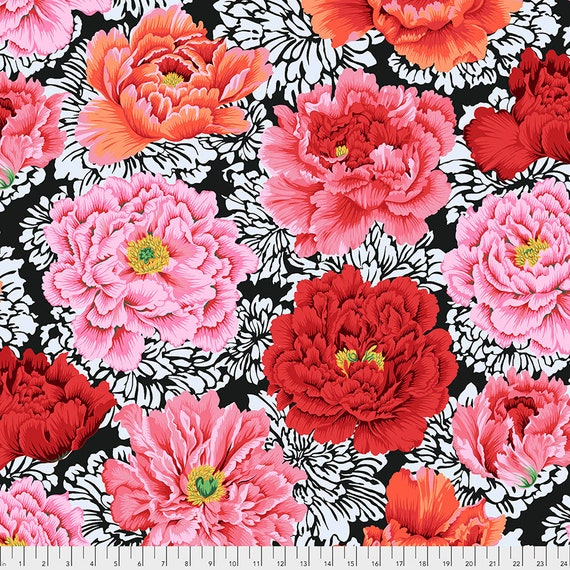 FEBRUARY 2021 Pre-Order - Read Description! BROCADE PEONY Crimson pj062 Philip Jacobs Kaffe Fassett Collective Sold in 1/2 yd increments