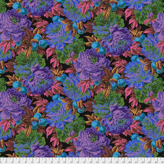 LUSCIOUS BLACK PWPJ011 Philip Jacobs Kaffe Fassett Collective -  1/2 yd - Multiples cut one length