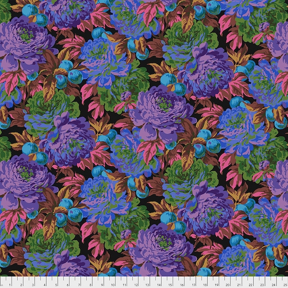 LUSCIOUS BLACK PWPJ011 Philip Jacobs Kaffe Fassett Collective -  1/2 yd - Multiples cut one length  - USA based retailer