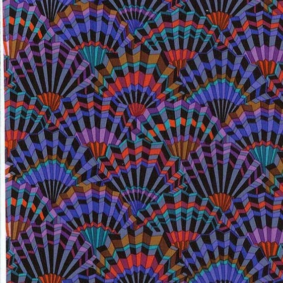 PAPER FANS BLACK pwgp143 Kaffe Fassett  Sold in 1/2 yd increments