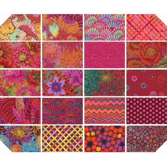 "EQUATOR 5"" CHARM Pack - Red Classics Precut  - Kaffe Fassett Collective - Read description!"