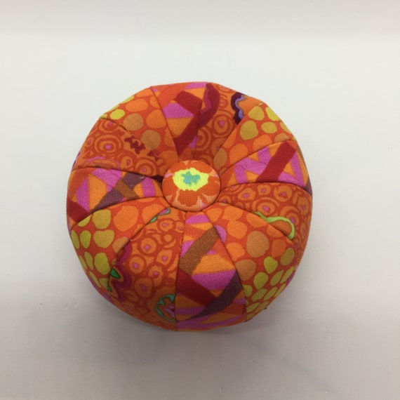 "TUFFET PINCUSHION - FINISHED 4"" Diameter Red/Orange Kaffe Fassett Collective fabrics"