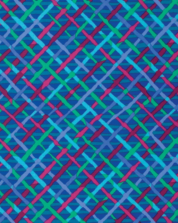 MAD PLAID COBALT Blue BM053 Fall 2015 Brandon Mably for Kaffe Fassett Collective Sold in 1/2 yd increments