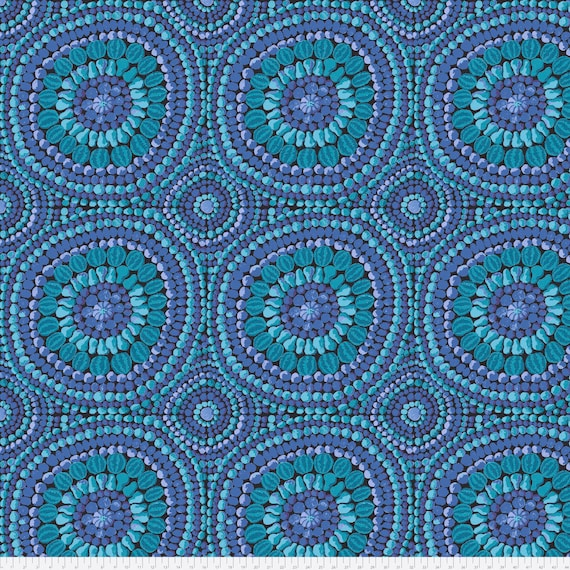 "FRUIT MANDALA BLUE 108"" Wide Backing Kaffe Fassett Collective QBGP003.2Blue Sold in 1/2 yd increments - Multiples cut as one length"