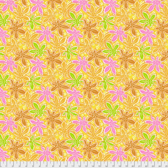 LACY LEAF Yellow Philip Jacobs PWPJ0093.YELLO Kaffe Fassett Collective Sold in 1/2 yd increments