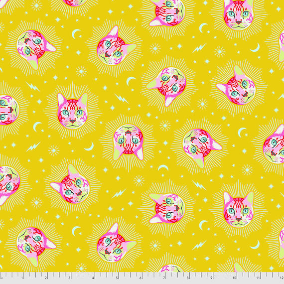 CHESHIRE Cat - Wonder  - Curiouser -  Tula Pink  Sold in 1/2 yd increments - Multiples cut as one length