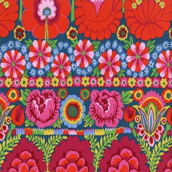 EMBROIDERED FLOWER RED  - Artisan - Kaffe Fassett - By the 1/2 yard - Multiples cut as one length