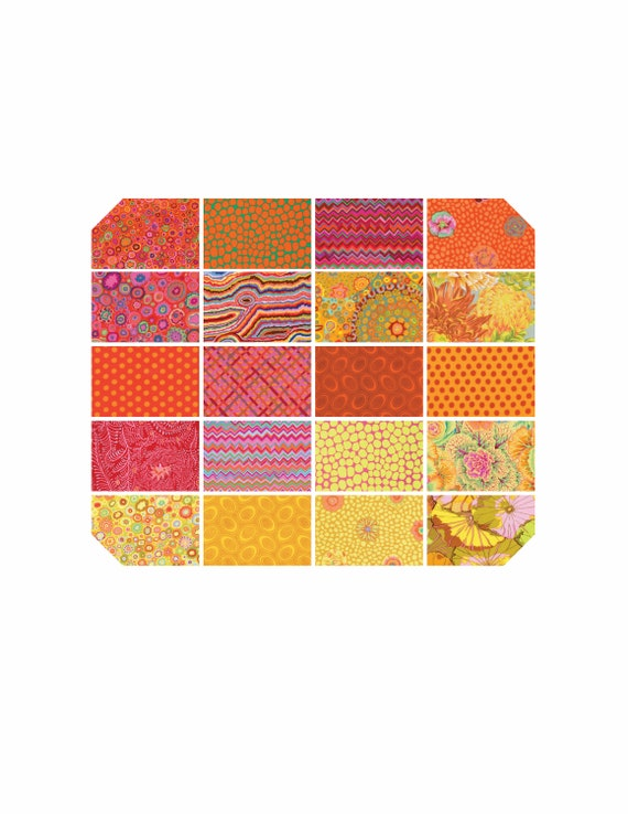 "KAFFE FASSETT CITRUS 5"" Charm Pack Warm Red Orange Yellow ""Classics"" collection"