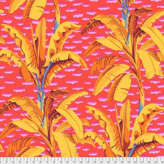 BANANA TREE Red pwgp179 - Kaffe Fassett Collective  Sold in 1/2 yd increments