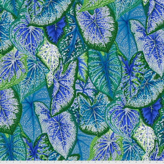 Pre-Order on Separate Order! CALADIUMS BLUE Philip Jacobs Kaffe Fassett Collective - Sold in 1/2yd units - Multiples cut continuous