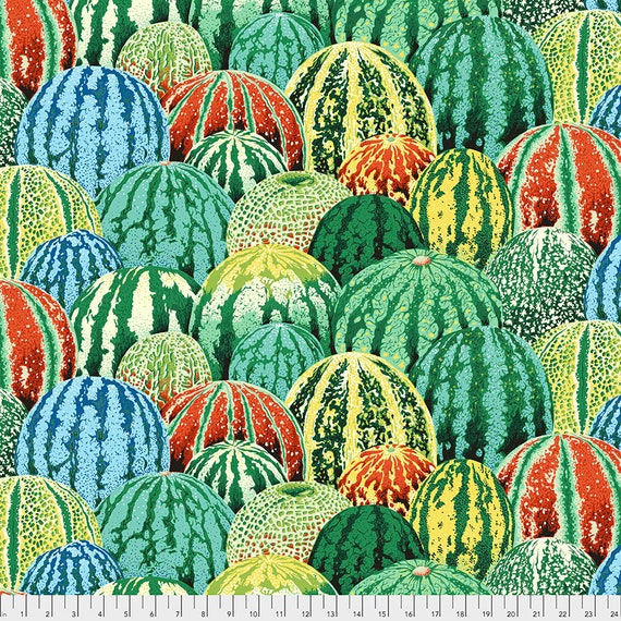 Separate Order!! WATERMELONS GREEN Philip Jacobs - Kaffe Fassett Collective - Sold in 1/2 yd increments - Multiples cut as one length